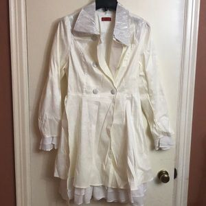 Women's Firmiana Cream Colored Ruffle Coat Size XL